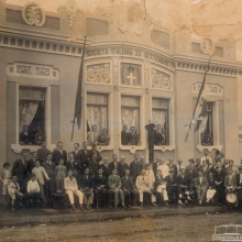 Integrantes da Societá Italiana XX Setembre, em 1918. Hoje ABCRS, na Rua Aprígio de Araújo.