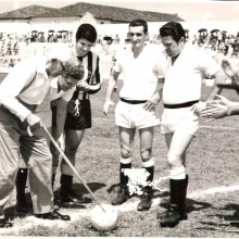 Frederico Dalmaso durante inauguração do estádio municipal que leva seu nome, em 10 de novembro de 1968. Frederico Dalmaso, Renato Pavan, ? , Winguinho, Menezis Balbo e Dr. Waldyr Alceu Trigo.